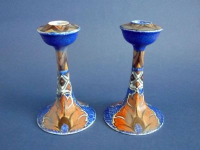Rare Pair of Clews 'Persian Flower' Chameleon Ware Candlesticks c1930